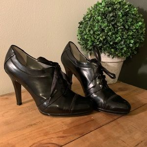 "[Tahari] Black Leather ""Larry"" Booties - Size 8.5"